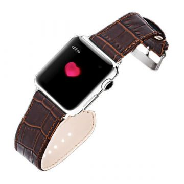iSmile krokodil bruin lederen Apple Watch 38mm bandje met adapters