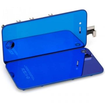 Complete Kit: Glass Digitizer & LCD Screen & Frame & Backcover First Quality iPhone 4 Mirror Blue