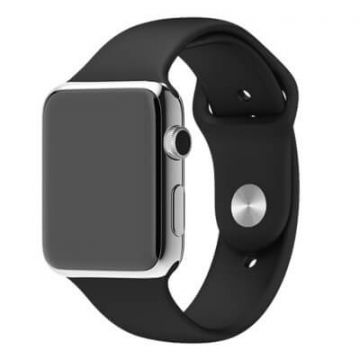 Zwart bandje Apple Watch 42mm siliconen