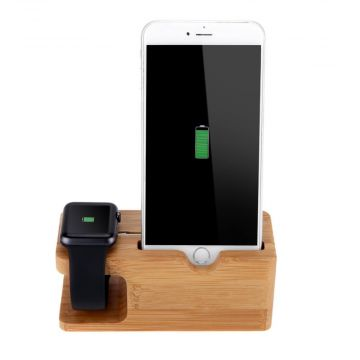 Houten docking station Apple Watch en iPhone