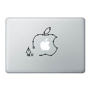 Pen tool Apple logo MacBook sticker
