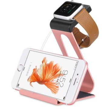 Station de charge en aluminium or rose Hoco pour Apple Watch 38mm, 42mm et iPhone