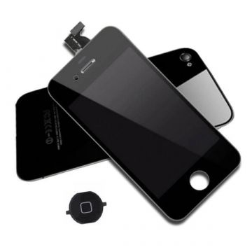 Second Quality Complete Kit: Glass Digitizer, LCD Screen, Frame, Backcover and Button for iPhone 4 Black