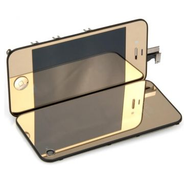 Complete Kit: Glass Digitizer & LCD Screen & Frame & Backcover First Quality iPhone 4 Mirror Gold