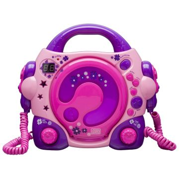 Bigben Pink Portable CD Player + 2 Microphones