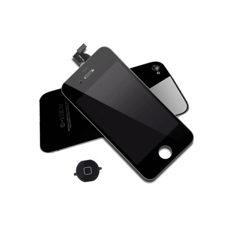 First Quality Complete Kit: Glass Digitizer, LCD Screen, Frame, Backcover and Button for iPhone 4 Black