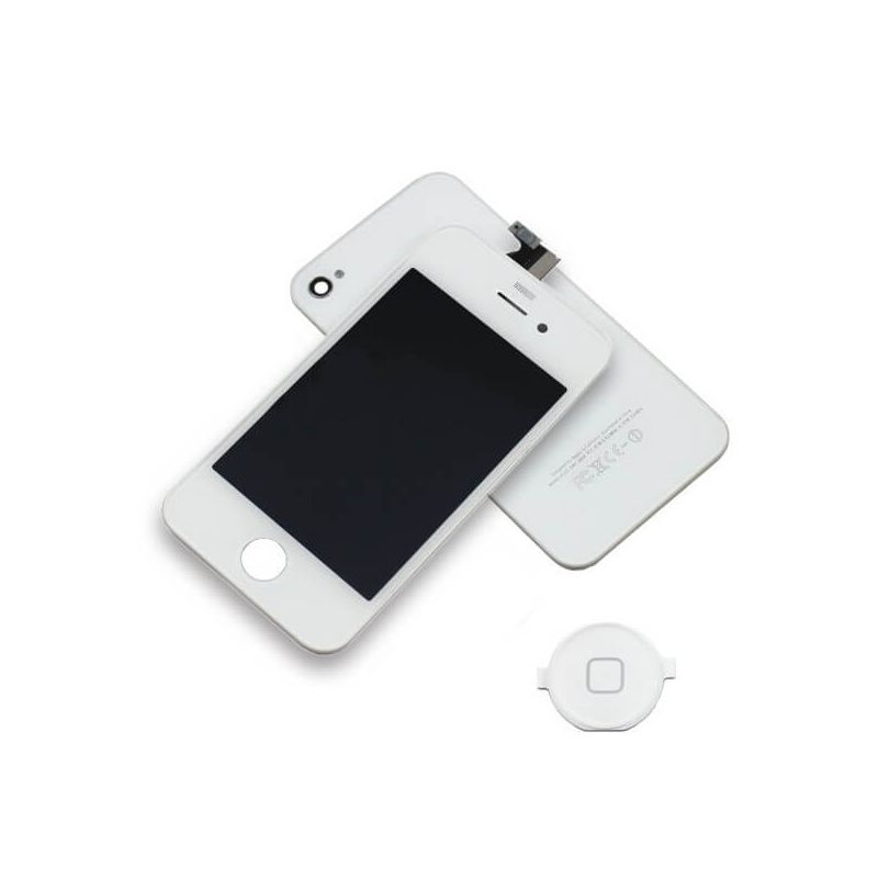 First Quality Complete Kit: Glass Digitizer, LCD Screen, Frame, Backcover and Button for iPhone 4S White