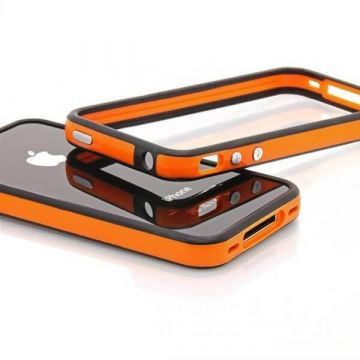 Bumper – Oranje en zwarte rand in TPU IPhone 4 & 4S4 & 4S