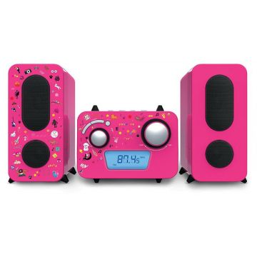 Bigben Pink Micro system CD player + Stickers