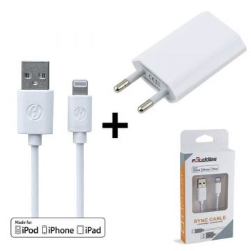 2 in 1 white pack MFI cable lightning + CE approved mains charger