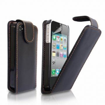Black Leather Cover Case for iPhone 4 4S