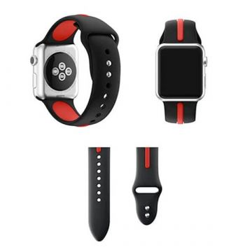 Bracelet Apple Watch Sport bande silicone 38mm Noir