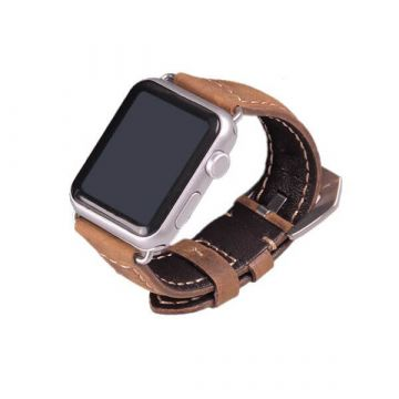 Leather brown Apple Watch 42mm bracelet with adapters