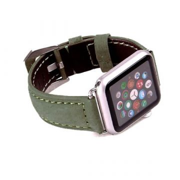 Leather dark green Apple Watch 40mm & 38mm bracelet with adapters
