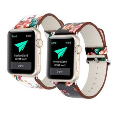 Flower Style 3 in 1 leather bracelet for 40mm & 38mm Apple Watch