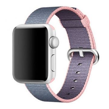 Light pink/Blue Woven Nylon Band Apple Watch 38mm