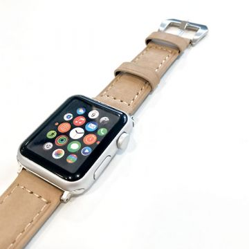 Hoco bruin lederen bandje Apple Watch 38mm met adapters
