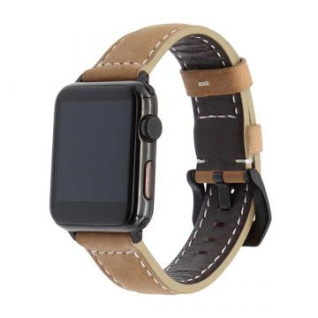 Leather beige Apple Watch 42mm bracelet with black adapters
