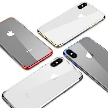 Transparent TPU shell metal color edges iPhone X
