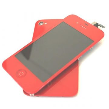 Complete Kit: Glass Digitizer & LCD Screen & Frame & Backcover First Quality iPhone 4 red