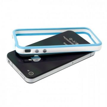 Bumper - Blauwe en witte rand in TPU IPhone 4 & 4S