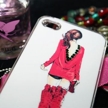 Clear Diamond Case with girl in red iPhone 4 4S