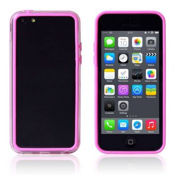Bumper roze en transparante rand in TPU IPhone 5C