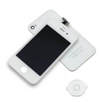 Original Quality Complete Kit: Glass Digitizer, LCD Screen, Frame, Backcover and Button for iPhone 4 White