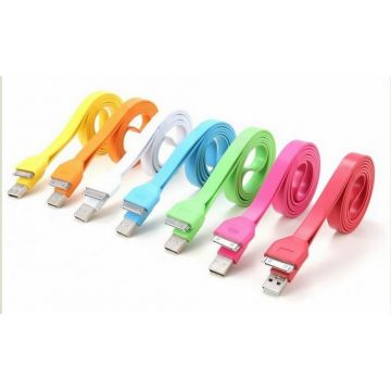 Platte USB Kleurige Kabel voor IPhone IPad en IPod