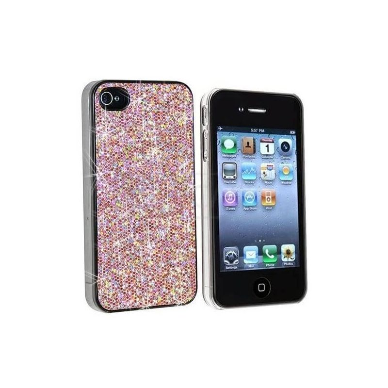 Coque Strass - Paillettes Rose iPhone 4 4S