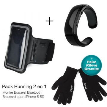 Pack Running 2 en 1 montre bracelet bluetooth + brassard sport iPhone 4
