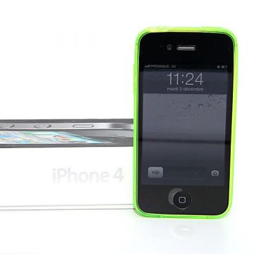 Coque TPU Fine vert flashy iPhone 4 4S
