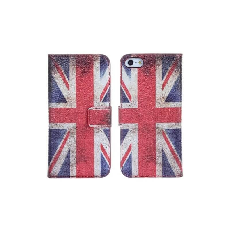 Flip Over Cover Case UK flag Vintage Looking iPhone 5/5S/SE