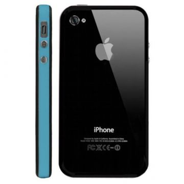 Bumper – Blauwe en zwarte rand in TPU IPhone 4 & 4S