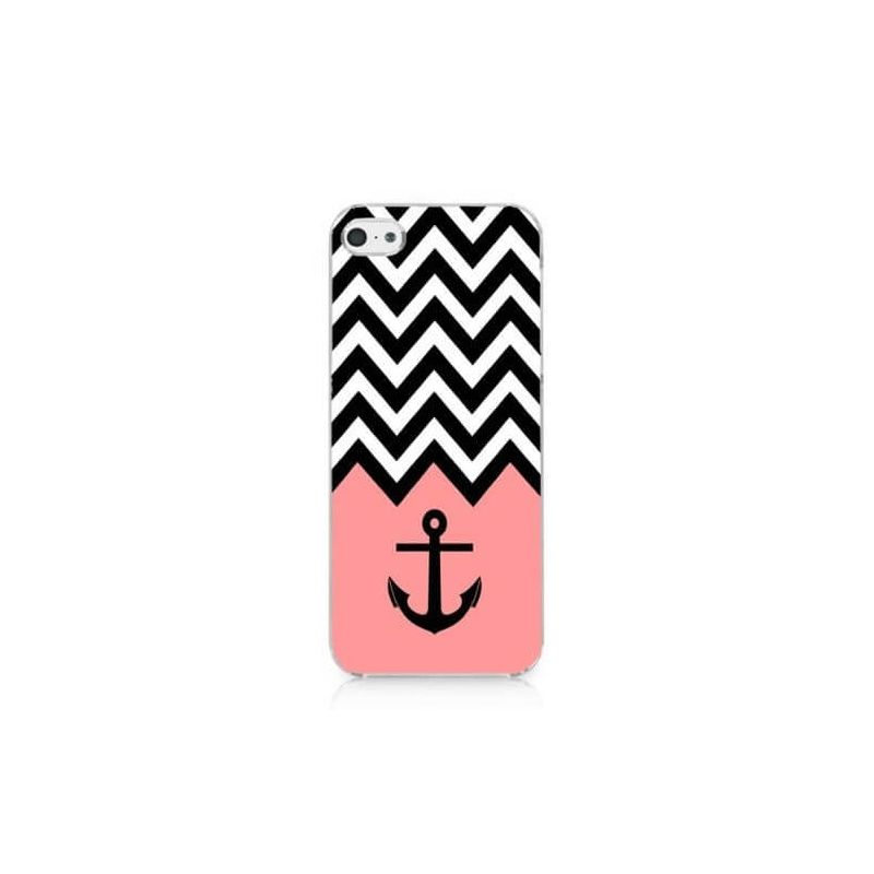 iphone 5s photos coque iphone 5 5s se navy ancre et chevrons macmaniack 5562