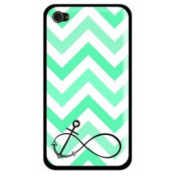 Coque iPhone 5C Navy Turquoise Ancre et chevrons