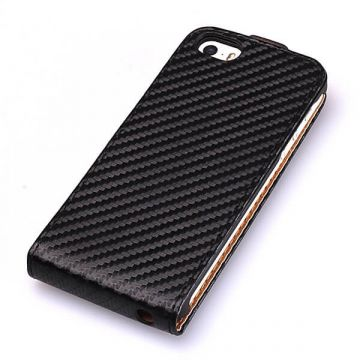 Flip-hoesje Carbon Look Zwart iPhone 5/5S/SE