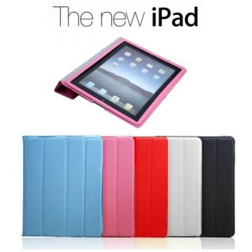 Polyurethane Integral Smart Case New iPad (iPad 3) Pink