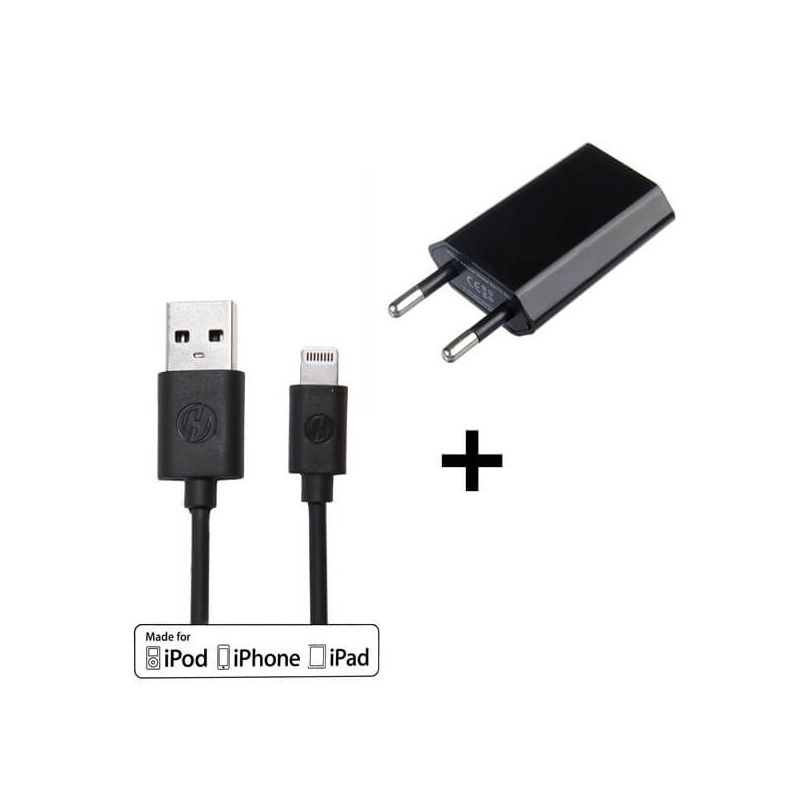 Pack 2 in 1 MFI Apple lightning kabel + iphone oplader