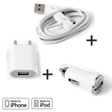3 IN 1 Charger Pack for iPhone 3G 3GS and 4 & 4S White