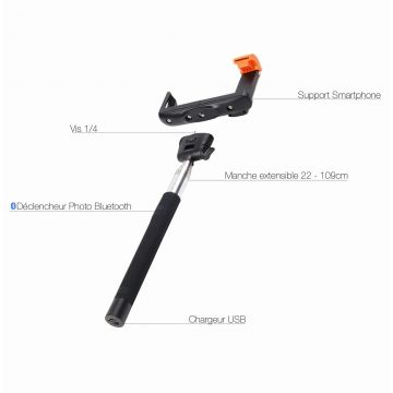Extendable Handheld Wireless Monopod for iPhone and Samsung